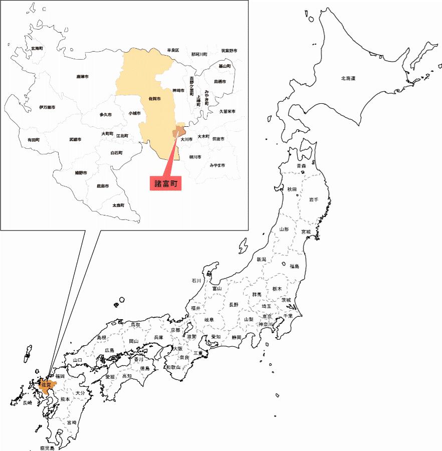 佐賀市諸富町の地図